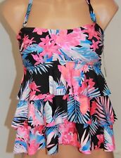 NWT Island Escape Swimsuit Tankini Top Size 12 Tummy Thinner Multi Tiered