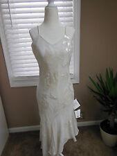 NWT JKARA IvoryBeaded Sequined Chiffon Dress Cut on Bias Formal/ Wedding Size 6