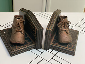 Vintage Baby Shoes Bronzed Book Ends Perfect For The Vintage Nursery Adorable