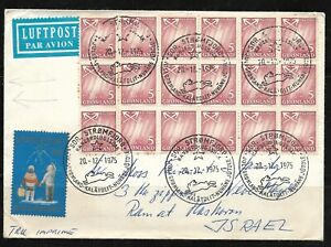 Judaica Denmark Greenland Old Airmail Cover sent to Israel Am Israel Chai Label