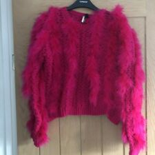 Topshop Pink Marabou Feather Knitted Jumper Size 10