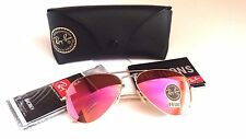 NEW Authentic RAY BAN RB3025 112/4T 58mm Matte Gold Frame Cyclamen pink mirror