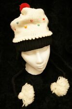 CUPCAKE HAT knit beanie toque cup cake vanilla bean costume ADULT fleece lined
