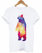 GEOMETRIC BEAR T SHIRT HIPSTER HIPPIE SWAG COLOR ANIMAL MENS UNISEX NEW TEE