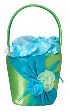 blue & green flower basket wedding flower girl basket