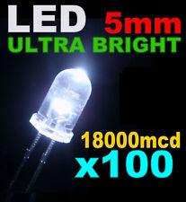 100 LED Blanche 5mm super lumineuse 18000mcd