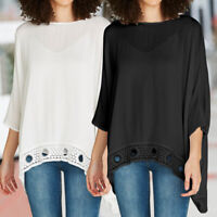 Women Lace 3/4 Sleeve Loose Tops Tunic Shirt Ladies Batwing Blouse Top Size 8-26