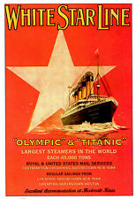 """Olympic & Titanic""  White Star Line Vintage 36x24 Poster"
