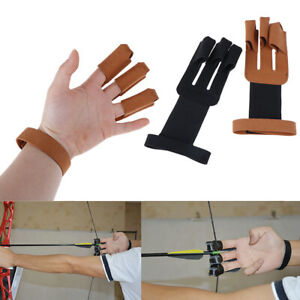 Archery Protect Glove 3 Fingers Pull Bow arrow Leather Shooting Gloves`hw