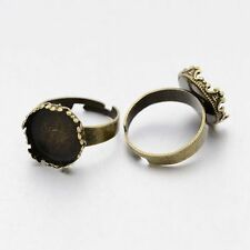 10pcs Adjustable Brass Pad Ring Finding Cabochon Base Setting Antique Bronze DIY