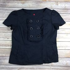 5/48 Womens S Navy Blue Structured Top Short Sleeve Button Front Career B3
