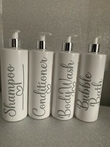 Mrs Hinch Inspired Black White Personalised Pump Bottles Bathroom Set Shampoo