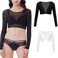 Women Seamless Arm Shaper Short Cropped Navel Mesh Cardigan Cropped Tops Q