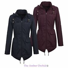 New Womens Ladies Mac Plain Fishtail Parka Showerproof Raincoat Hooded Jacket