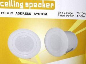 Ceiling Speaker Built in 3W Loud Speaker Home Audio White Public Address System