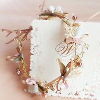 Women Wedding Flower Girl Bride Crystal Look Pearl Hair Band Head Piece Garland