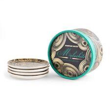 Jonathan Adler Malachite Porcelain Black & Gold Coasters NEW set of 4 BOXED