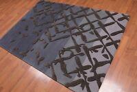 "4'8"" x 6'8"" Handmade High Low Pile 100% Wool Area rug Modern Gray"