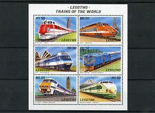 Lesotho 1996 MNH Trains 6v M/S I Railways Züge Treni Chemin de Fer TGV Stamps