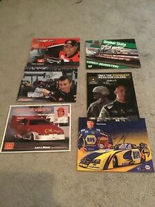 Set of 6 NHRA Drag Racing Driver Autographed Large Action Photo Cards