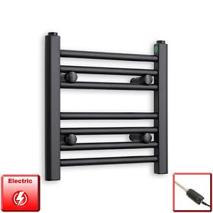 400mm Wide 400mm High Flat Black Pre-Filled Electric Heated Towel Rail Radiator