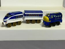 Tomy Chuggington Wooden Railway Hanzo Train And Tender And Brewster Lot