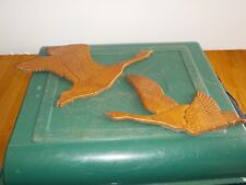 """WOOD GEESE TWO  ART WALL HANGING SEE NO NAME SIZE IS 9"""" AND 5 & 6"""""""