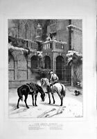 Original Old Antique Print 1879 Waller Fine Art Siers Horses Architecture 19th
