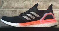ADIDAS ULTRABOOST 20 RUNNING SHOES EG0756 BLACK / WHITE / CORAL NEW MENS