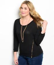 NEW..Stylish Plus Size Black Long Sleeve Top with Zipper Detail.Sz16/2XL