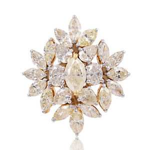 Natural 3.20 Ct SI/Hi Marquise Oval Diamond Cluster Ring 18k Rose Gold Jewelry
