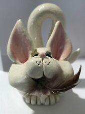 Sherri Pence Handmade Ceramic Bi Eyed Sphynx Cat Business Card Holder Figurine 7