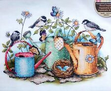 """Dimensions Stamped Cross Stitch Kit WATERING CANS  14""""X11"""" 2010 Clough"""