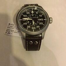 Aristo Herren Messerschmitt Uhr XL große Fliegeruhr ME-47XL braunes Lederband