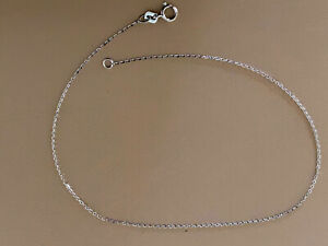 """1OK WHITE GOLD 10"""" D/C .95MM CABLE CHAIN ANKLET FREE SHIPPING"""