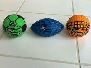 "Poof Spider Ball Set of 3 Soft Foam 8"" Football 6"" Soccer 6"" Basketball NEW"