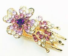 USA SELLER Crystal Hair Clip Bobby Pin Rhinestone Flower Pin Claw Jaw Purple
