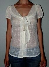 New Tags Womans Med Hopeless Romantic Blouse Victorian Trading Button White Lace