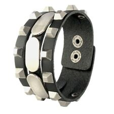 Cool Punk Rock Biker Men Women Unisex Genuine Leather Black Bangle Cuff Bracelet