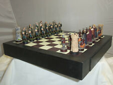 0481 BRITISH BRAVEHEART WILLIAM WALLACE SCOTTISH CHESS SET GAME WITH WOOD BOARD