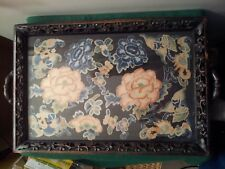 ANTIQUE CHINESE JAPANESE HAND CARVED WOOD TRAY - EMBROIDERED SILK BATS / FLOWERS