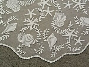 """White Lace Tidepool design Table Topper  42"""" round"""