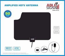 NEW AMPLIFIED INDOOR THIN FLAT HDTV TV ANTENNA 50 MILES 5dB GAIN VHF UHF FM