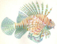 Ocean Sea RED LIONFISH - MEDIUM SIZE original handworked signed art print
