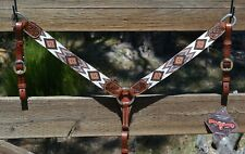 "Circle Y 1 1/2"" Dark Oil Breast Collar with Fully Beaded Overlay-Brown/Tan/White"