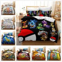 3D Pokemon Anime Character Kids Bedding Set Duvet Cover for Comforter Pillowcase