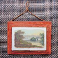 Lake Windermere Original Oil Painting on Milk Glass England Antique Velvet Frame
