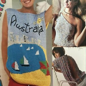 1980s Summer Ken Done Ons Shoulder Backless Graphics Patons 756 Knitting Pattern