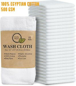 100x Super Soft 100% Egyptian Cotton Face Towels Flannel Wash Cloths 500 GSM