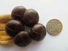 1960s Vintage Med Faux Leather Dark Brown Coat Jacket Replacement Buttons-23mm